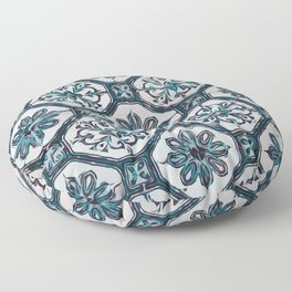Floral ceramic tile design in blue color #Terrazzo #Blobs Floor Pillow