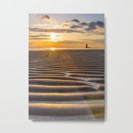 Sandbars and Sunset Coastal Nature / Landscape Photograph Metal Print