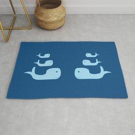 Three Cute Whales in Classic Blue Rug