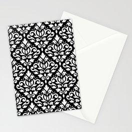 Scroll Damask Big Pattern White on Black Stationery Cards
