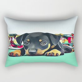Doberman Puppy Guarding the Model Railroad Rectangular Pillow