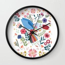 Folk Art Inspired Hummingbird In A Burst Of Springtime Blossoms Wall Clock