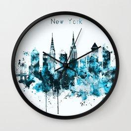 New York Monochrome Blue Skyline Wall Clock