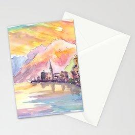 Hallstatt Austria Golden Mountain Sunset and Lake Stationery Cards