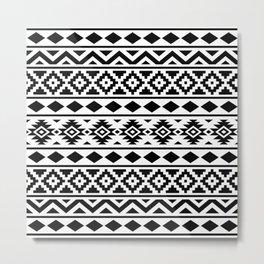 Aztec Essence Ptn III Black on White Metal Print