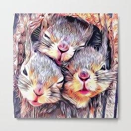 3 Sleepy Baby Squirrels in a Tree Metal Print
