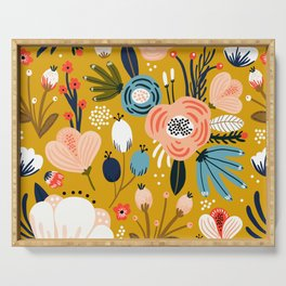 Mid-Century Modern Floral Print on Mellow-Yellow Serving Tray