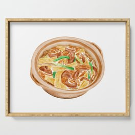 Watercolor Illustration of Chinese Cuisine - Dry tofu lamb clay pot | 支竹羊腩煲 Serving Tray