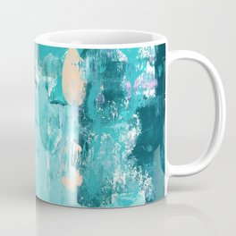 020: a vibrant abstract design in teal and peach by Alyssa Hamilton Art  Coffee Mug