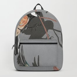 Great Tits Bird Ribbon Grey Backpack
