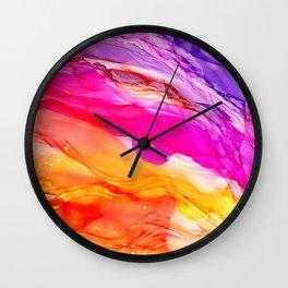 Pocket of Sunshine - fluid art, red orange yellow purple, vibrant fun, playroom Wall Clock