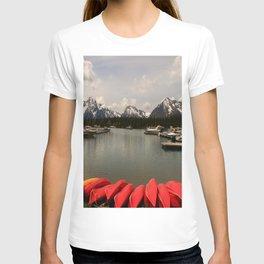 Canoe Meeting At Jackson Lake T-shirt