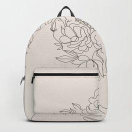 Woman with Flowers Minimal Line III Backpack