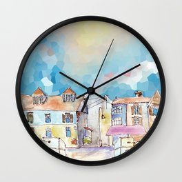 Colorful street in old town under abstract sky Wall Clock