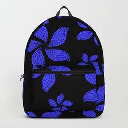 Hawaiian Island Style Violet-Blue Floral Print Backpack