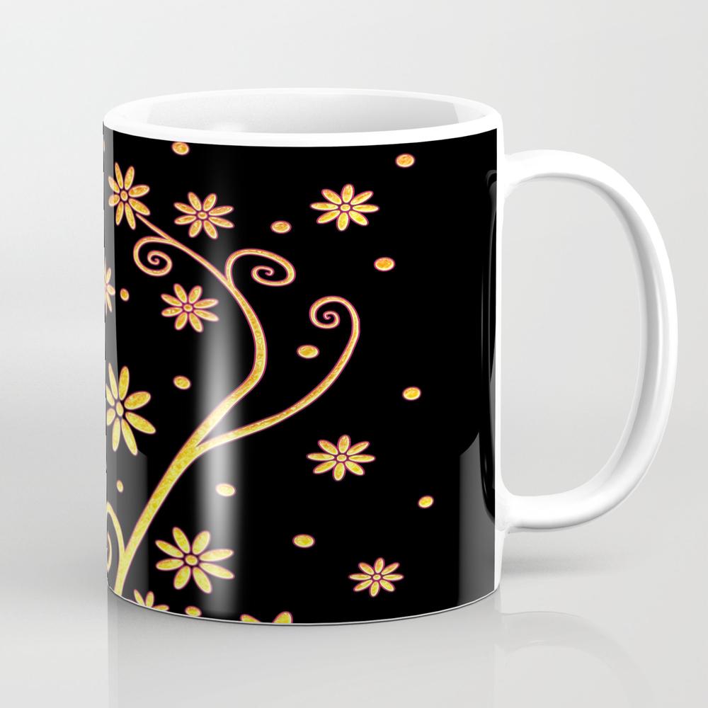 Gold Blooming Flowers Mug by Houkstudio MUG854519