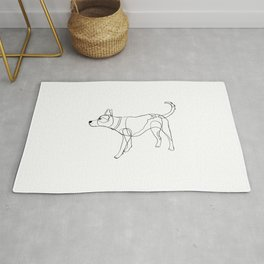 Minimalist line art drawing of Year of the Dog Rug