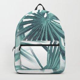 Teal Aqua Tropical Beach Palm Fan Vector Backpack