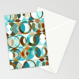 Funky Mid Century Modern Abstract Psychedelic Circle Geo Pattern // Ocean Blue, Turquoise, Brown, Caramel, Khaki Tan, White Stationery Cards