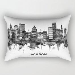 Jackson Mississippi skyline BW Rectangular Pillow