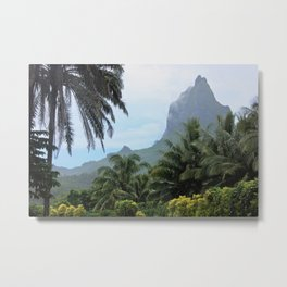 Polynesian Volcano Ruins in Rain Metal Print