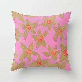 Retro Flowers on Pink Throw Pillow
