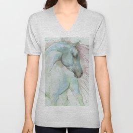 Arabian horse watercolor art Unisex V-Neck