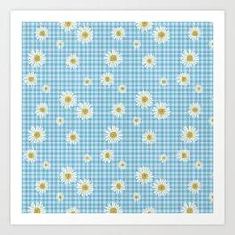 Daisies On Blue Gingham Art Print