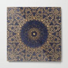 Zodiac Wheel Mandala Metal Print