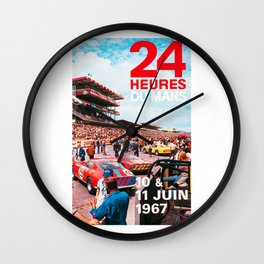 24hs Le Mans 1967, vintage poster Wall Clock
