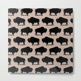 Buffalo Bison Pattern 265 Beige and Black Metal Print
