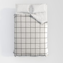 Grid Pattern Stripes Lines Black and White Minimalist Geometric Stripe Line Comforters