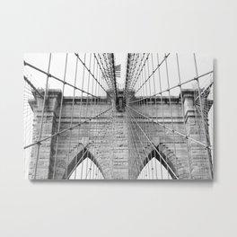 Black and white Brooklyn Bridge | travel photography New York city USA art print Metal Print