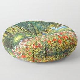 Claude Monet The Artist's Family In The Garden Floor Pillow