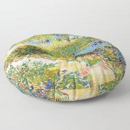 Vincent van Gogh - Garden At Arles, Flowering Garden With Path - Digital Remastered Edition Floor Pillow