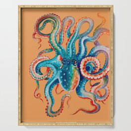 Octopus Teal Tentacles Orange Serving Tray