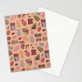 tiki masks peach nougat seamless pattern Stationery Cards
