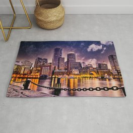 Skyline of Boston Harbor Rug