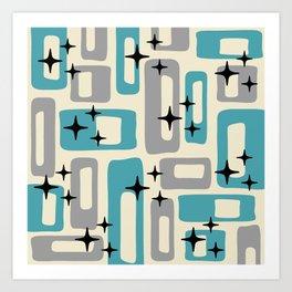 Retro Mid Century Modern Abstract Pattern 223 Blue and Gray Art Print
