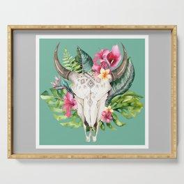 Boho Floral Skull Grey & Teal Serving Tray