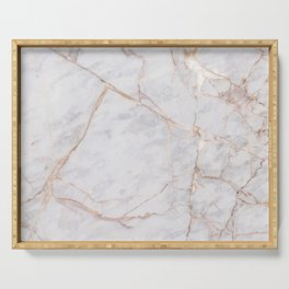White Italian Marble & Gold Serving Tray
