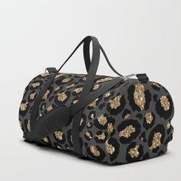 Black Gold Leopard Print Pattern Duffle Bag