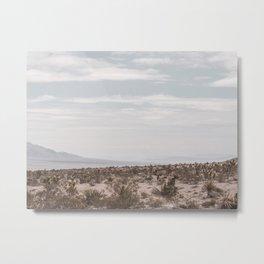 Blue Mountain Mojave // Vintage Desert Landscape Cactus Plants Nature Scenery Photograph Decor Metal Print