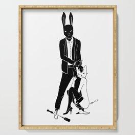 Mr Bunny is cruel Serving Tray