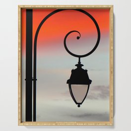 lanterne de rue en Brettes, France Serving Tray