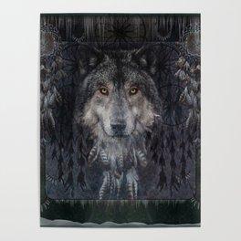 Winter mode - Wolf Dreamcatcher Poster