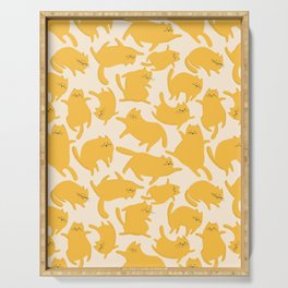 Yellow Cats Pattern Serving Tray