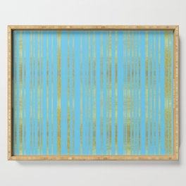 Golden and Cyan Stripes Pattern, Luxury Print in Turquoise Color and Gold   Serving Tray
