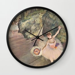 Dancer With A Bouquet Of Flowers The Star Of The Ballet By Edgar Degas | Reproduction | Famous Frenc Wall Clock