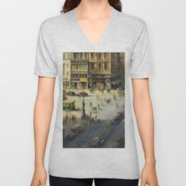 American Masterpiece 'Greenwich Village, NY' by Alfred S. Mira Unisex V-Neck